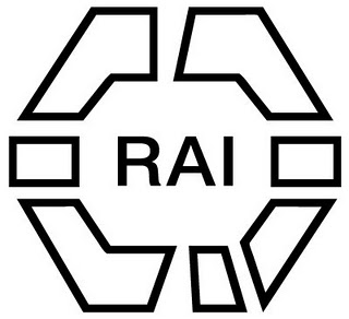 Black text 'RAI' on white background, surrounded by geographic shapes